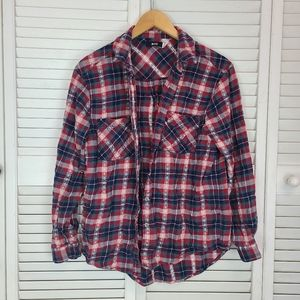 Urban Outfitters Plaid Embroidered Flannel Size M